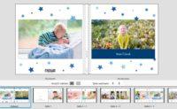 Eine im Fotobuch gestaltete Doppelseite. Fotobuch Baby, Fotobuch Kleinkind erstellen