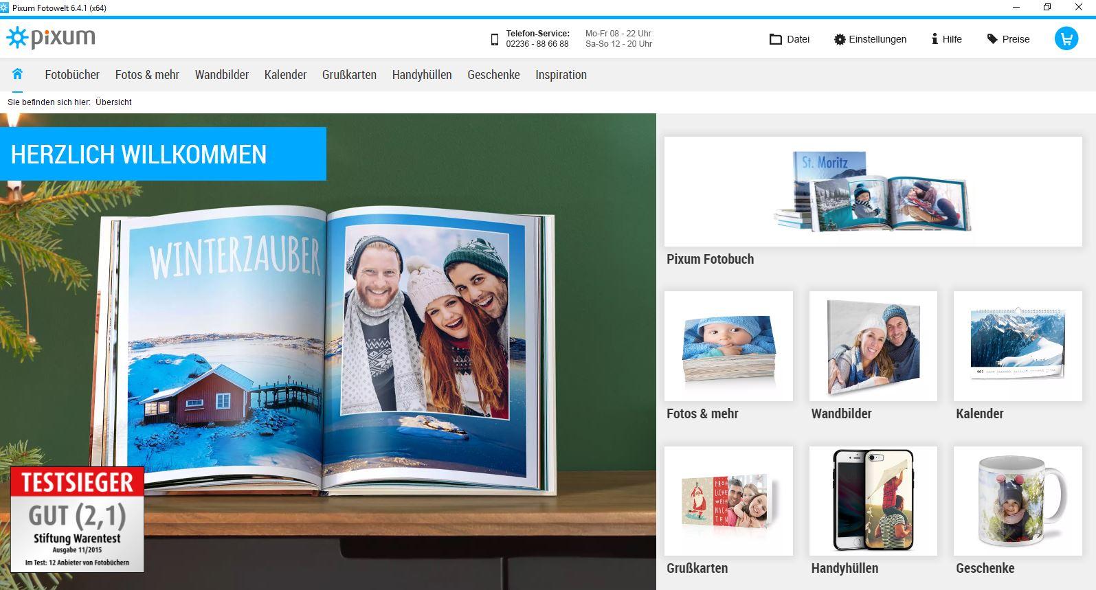 Wie erstelle ich ein Fotobuch? Startbildschirm Pixum Fotos Software Produktauswahl