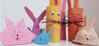 Oster basteln Kinder 3 verschiedene Arten Osterhasen aus Papier, Klorollen und Eierkarton