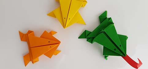 Spiele selber basteln Papier; Frösche basteln mit Vorlage zum Wetthüpfen