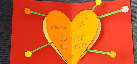 Pop-Up Karte mit Herz und Blümchen - Muttertag | Valentinstag | Liebesgrüße