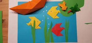 Papier falten Kinder - Origami Fisch Anleitung