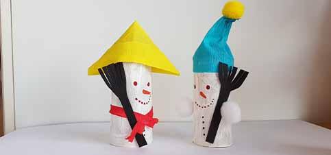 Schneemann aus Klopapierrollen basteln mit Kindern