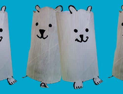 Eisbären aus Klopapierrollen basteln