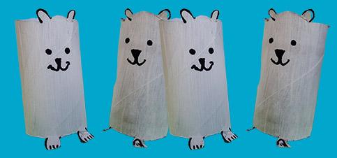 Bastelidee Eisbären aus Klopapierrollen