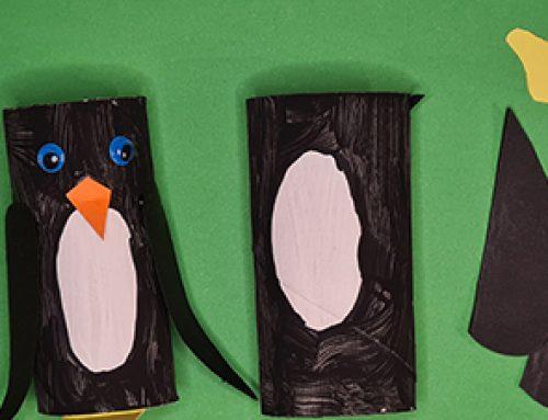 Pinguine aus Klopapierrollen basteln