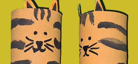 Tiger aus Klopapierrollen basteln mit Kindern Anleitung