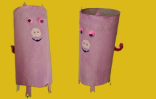 Schweine aus Klopapierrollen basteln mit Kindern