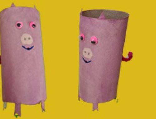 Schwein aus Klopapierrollen basteln