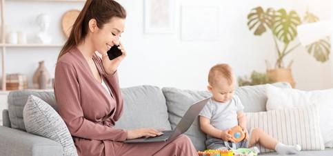 Geld verdienen von zu Hause für Mamas